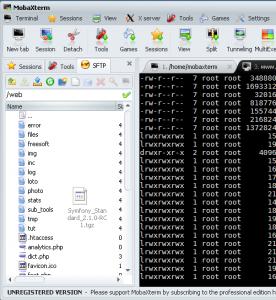mobaxterm SFTP tab