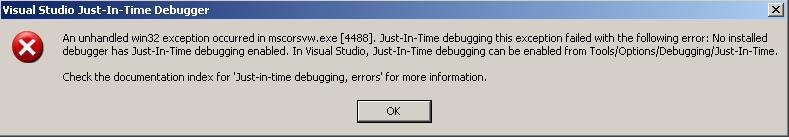 just in time debugger error